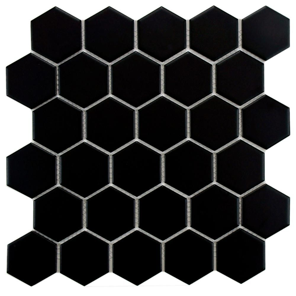 Merola Tile Metro Hex 2 In Matte Black 10 1 2 In X 11 In X 5 Mm Porcelain Mosaic Tile 8 02 Sq Ft Porcelain Mosaic Tile Porcelain Mosaic Mosaic Flooring