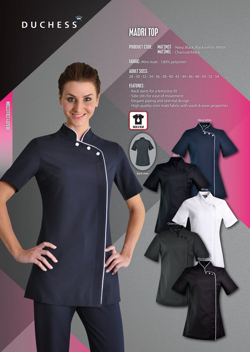 The madri beauty salon tunic reflects the style of for Spa employee uniform