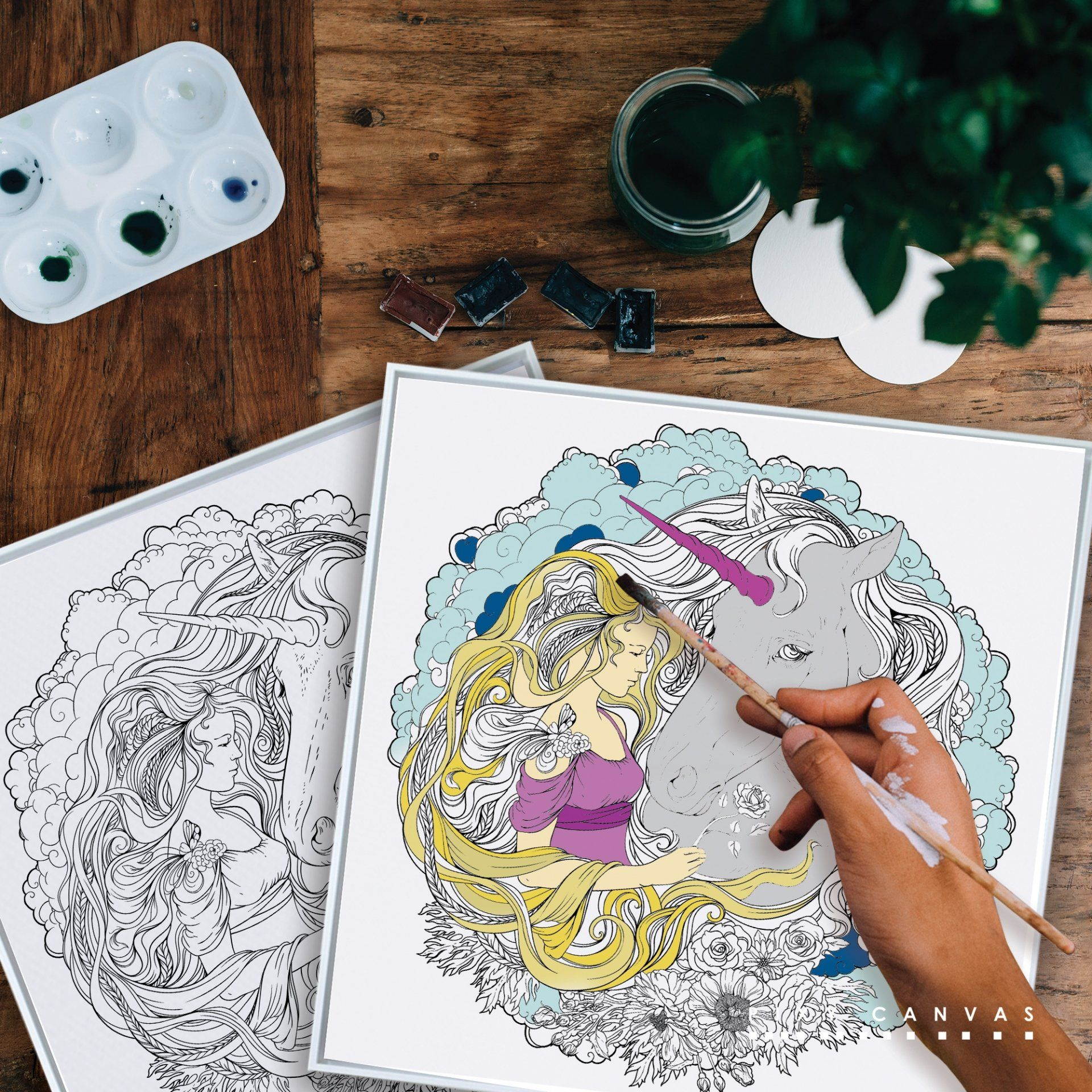 Princess And Unicorn Wall Art Gift Ideas Diy Coloring Canvas Prints By Pixy Best Place To Arts Craft Online Custom Design