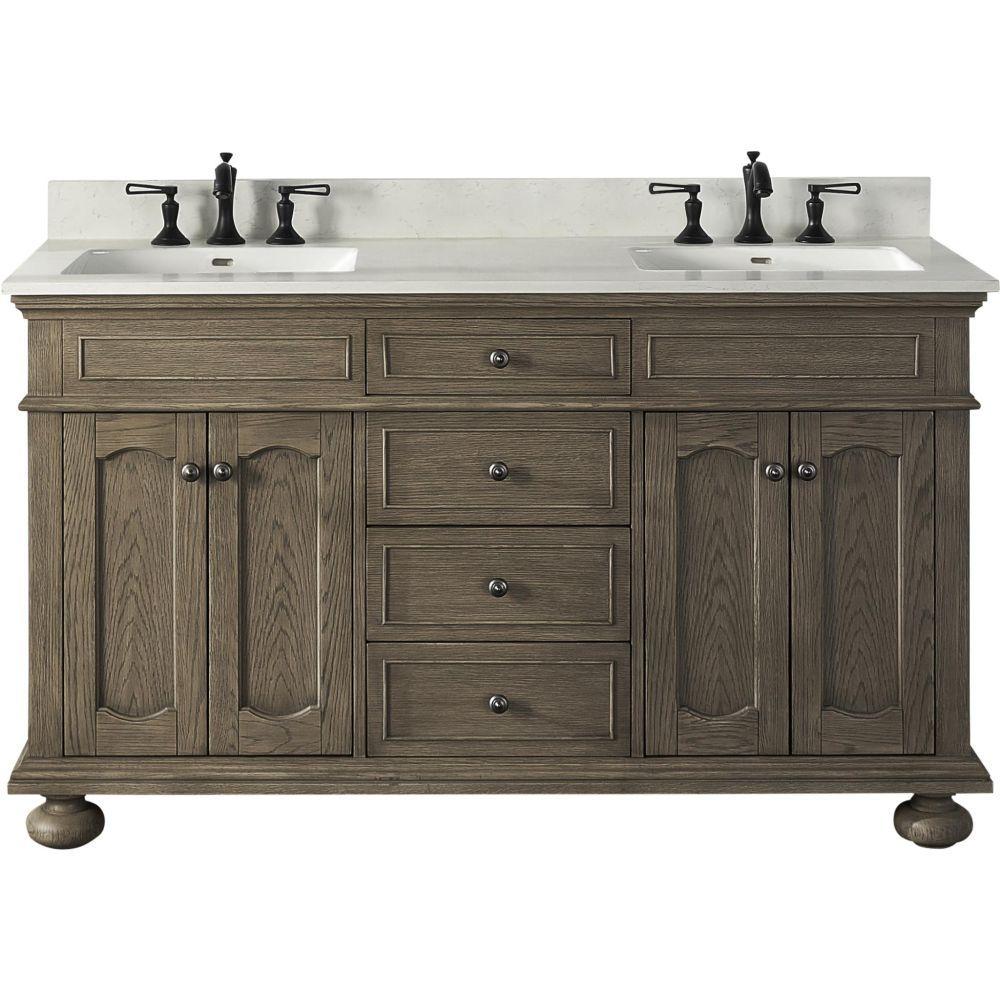 The Fairmont Designs 1535 V6021d Double Bowl Bathroom Vanity Antique Grey 60 X 21 1 2 34 At Clicknrun