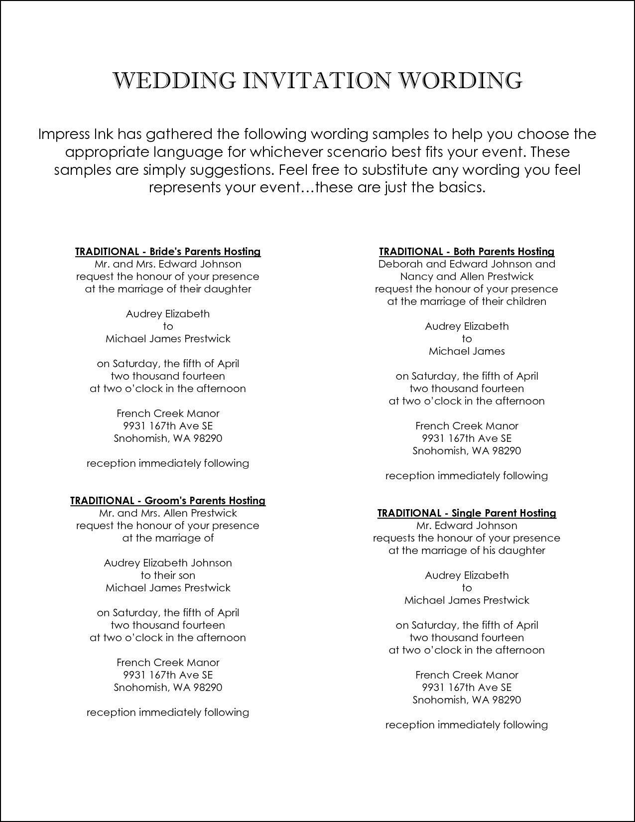 Couples Hosting Wedding Invitation Wording Unique