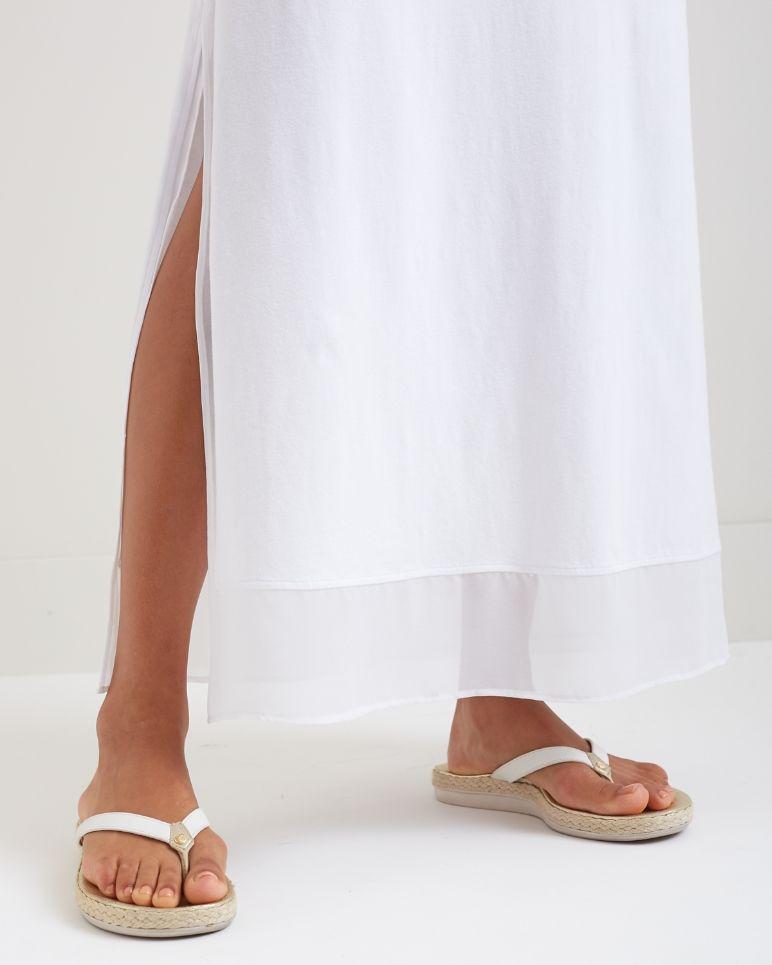Knit & Chiffon Scoop-Neck Maxi Dress