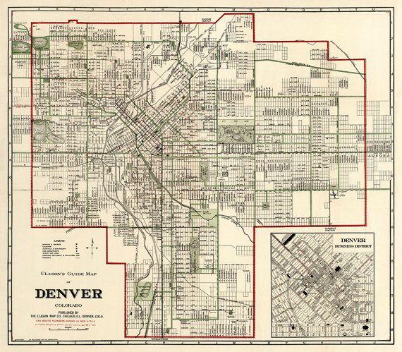 Denver Map  Vintage Map Of Denver  Old Map Restored
