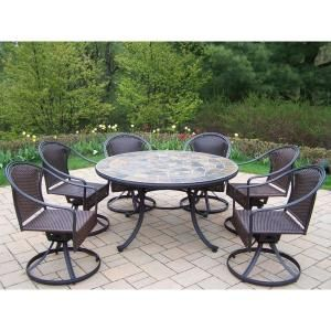 Oakland Living Tuscany Stone Art 54 In 7 Piece Patio Wicker Swivel Chair Dining Set