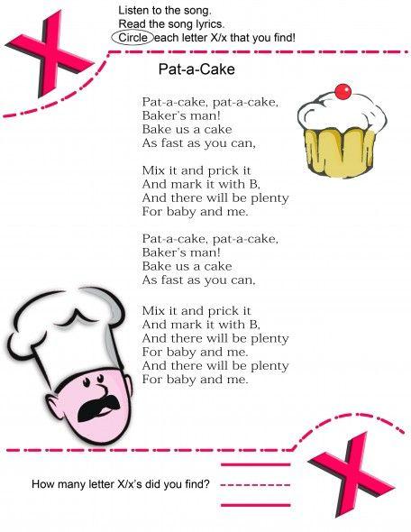 Alphabet Letters Nursery Rhyme Pat A Cake