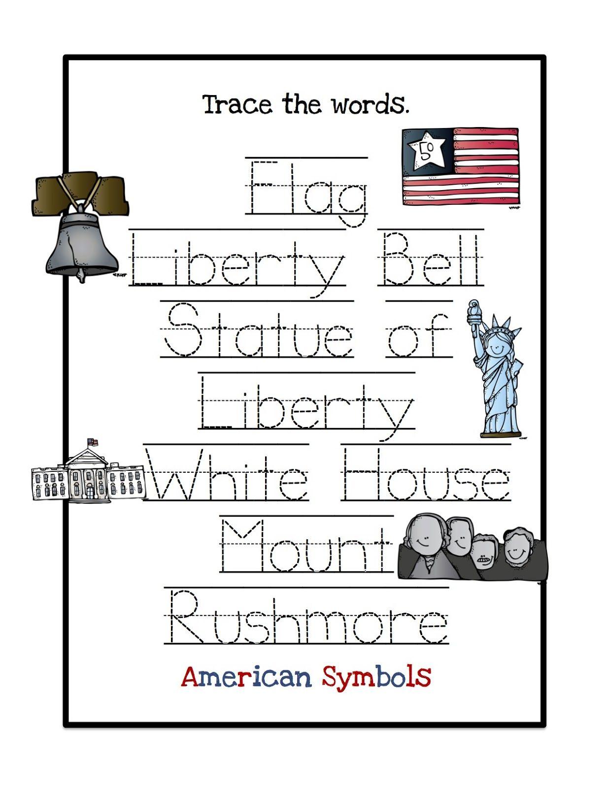 Nat L Symbols Word Trace American Symbols Fun Homeschool 2nd Grade Worksheets