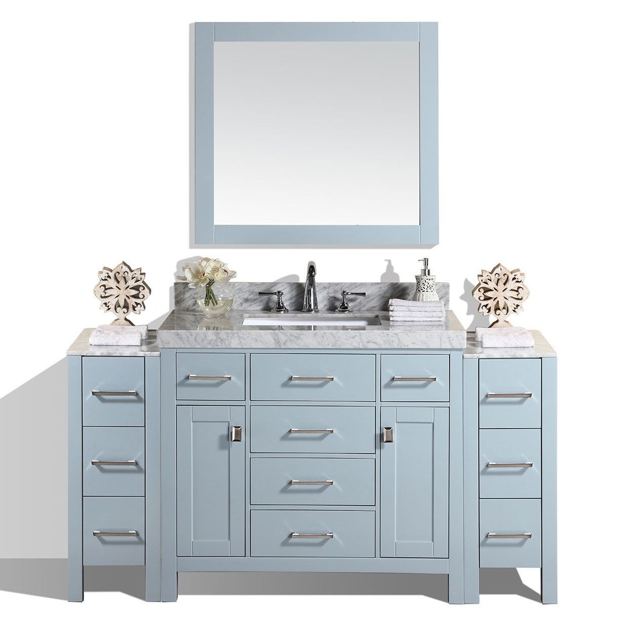 64 Inch Malibu Gray Single Bathroom Vanity With 2 Side Cabinets