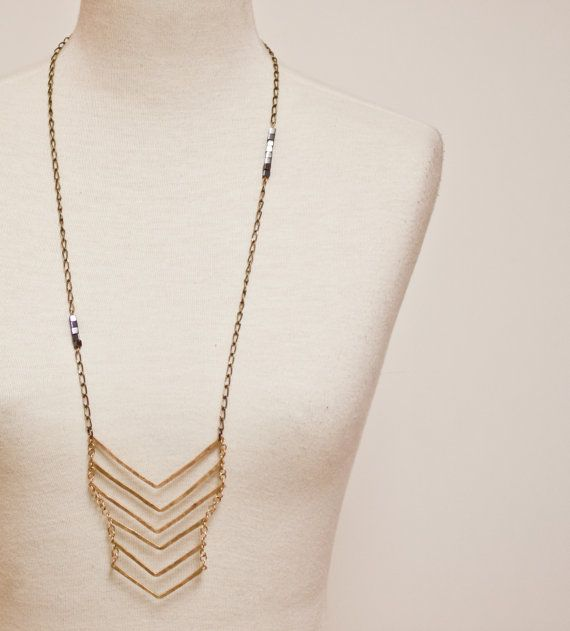 brass chevron geometric necklace