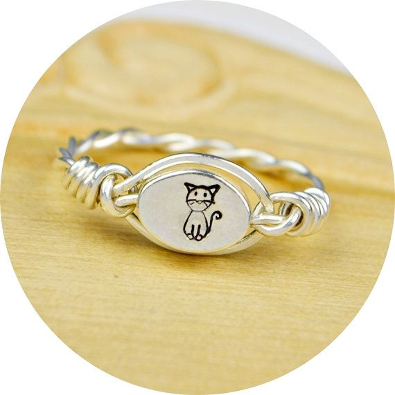 REVERSIBLE Any Monogram and Cat RingSterling by SimplyCharmed21, $20.00  For Diane