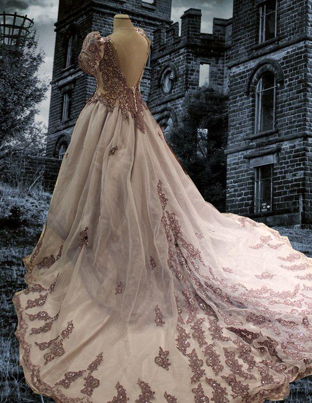 Steampunk wedding gowns steampunk victorian bustle for Victorian bustle wedding dress