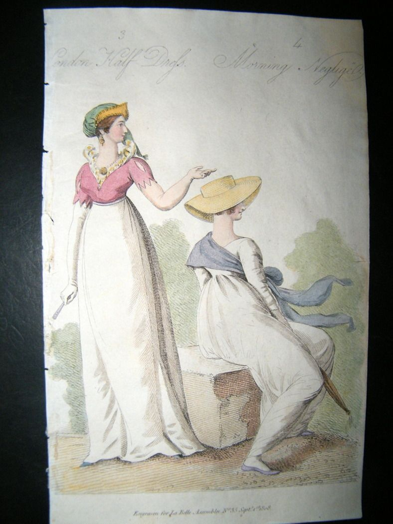 The outfit on the right looks comfortable, tidy and can be worn 'everyday'. 1808 London Half-Dress / Morning Negligee