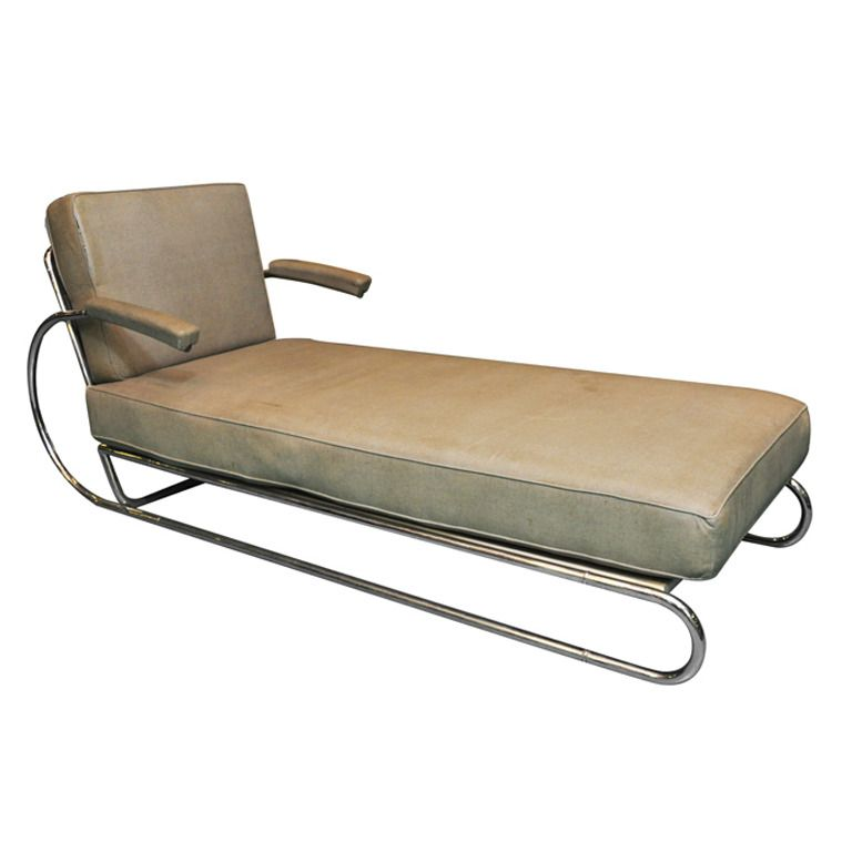 Art Deco Adjustable Chrome Chaise Longue Art Deco Retro Chair Art Chair
