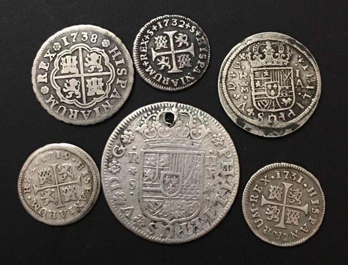 España Felipe V Lote De 6 Monedas De Plata 2 Reales 1 Real Y Medio Real 1700 Al 1746 Monedas De Plata Monedas Valor De Monedas Antiguas