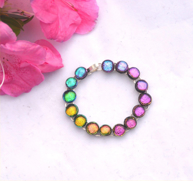 Dichroic fused glass link cabochon bracelet, rainbow sparkle by caroline4art on Etsy https://www.etsy.com/listing/218999094/dichroic-fused-glass-link-cabochon