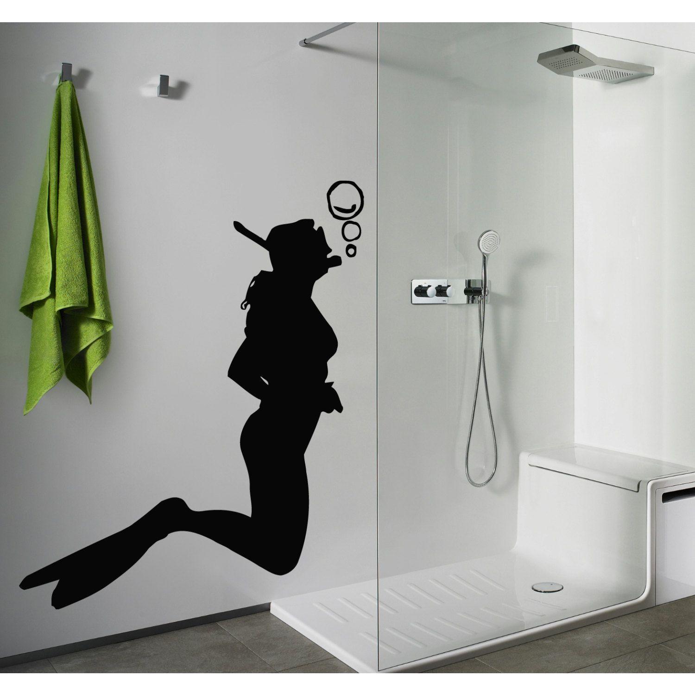 Skuba Diving Diver Bathroom Decor Black Sticker Vinyl Wall Art