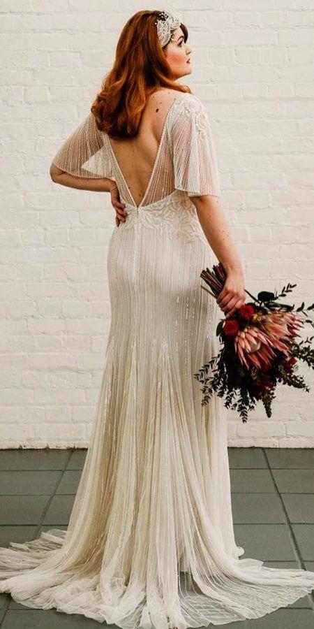 Vestido de novia de talla grande con escote en la espalda  – Boda