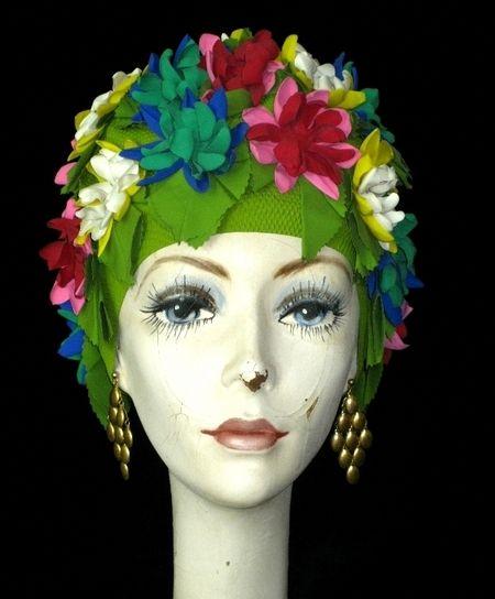 Color : Black Women Swimming Cap Floral Petal Retro Style Bathing Hat Long Hair Flower Cap