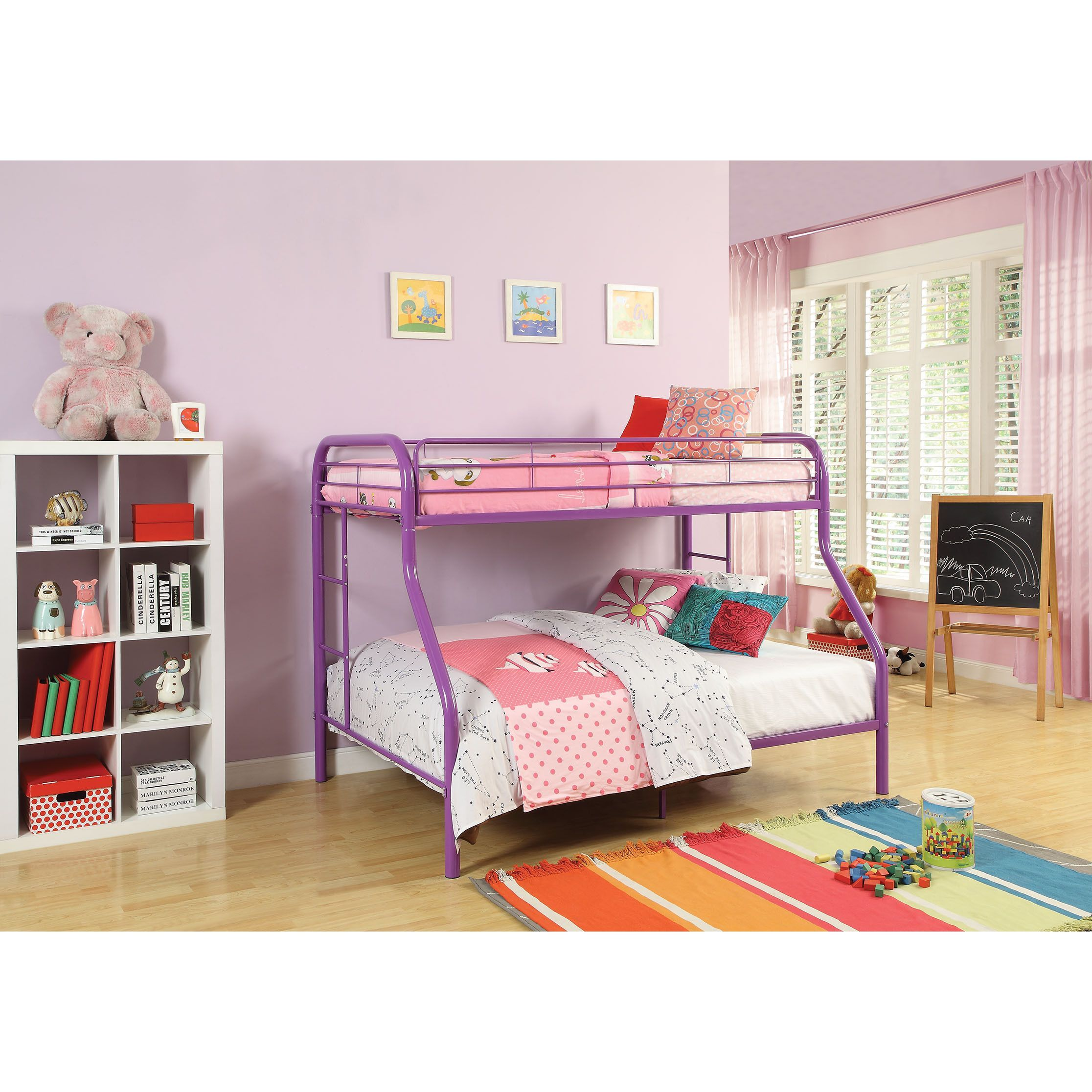 Tritan purple metal twinfull bunk bed purple l x