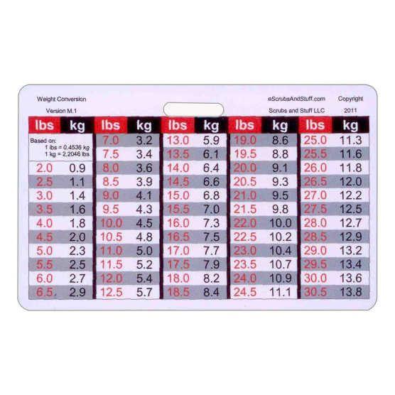 pediatric weight conversion badge card horizontal