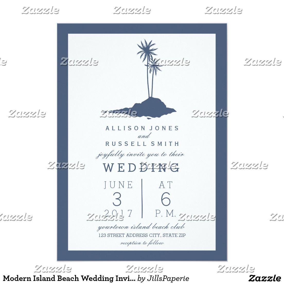 Modern Island Beach Wedding Invitation - Dark Blue | Beach wedding ...