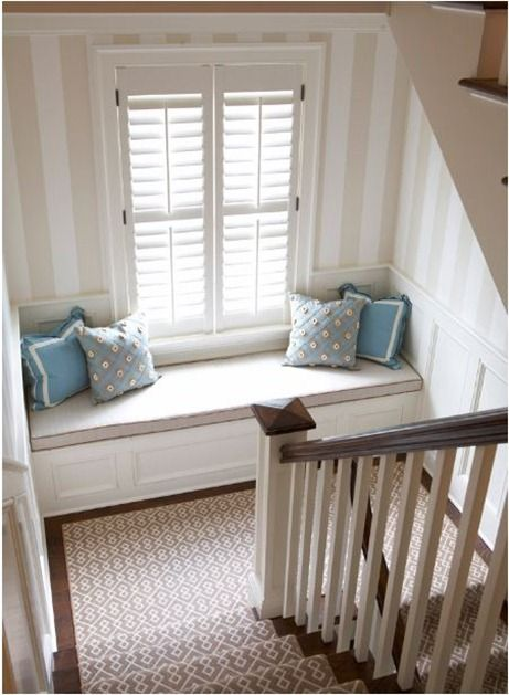 cozy reading nook on staircase love it what a great way to transform an - Beautiful Window Seats