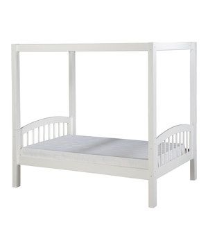 Made from solid wood, this beautiful bed features tall, sleek canopy posts and a slat roll foundation with a center rail support system for incredible durability. The classic styling and gorgeous protective finish help this versatile and sturdy piece fit into almost any room's décor.
