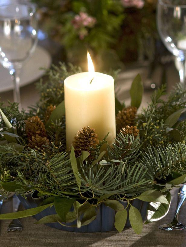 Evergreen Table Centerpiece Eco Friendly Christmas Decorations Christmas Candle Decorations Christmas Centerpieces Diy