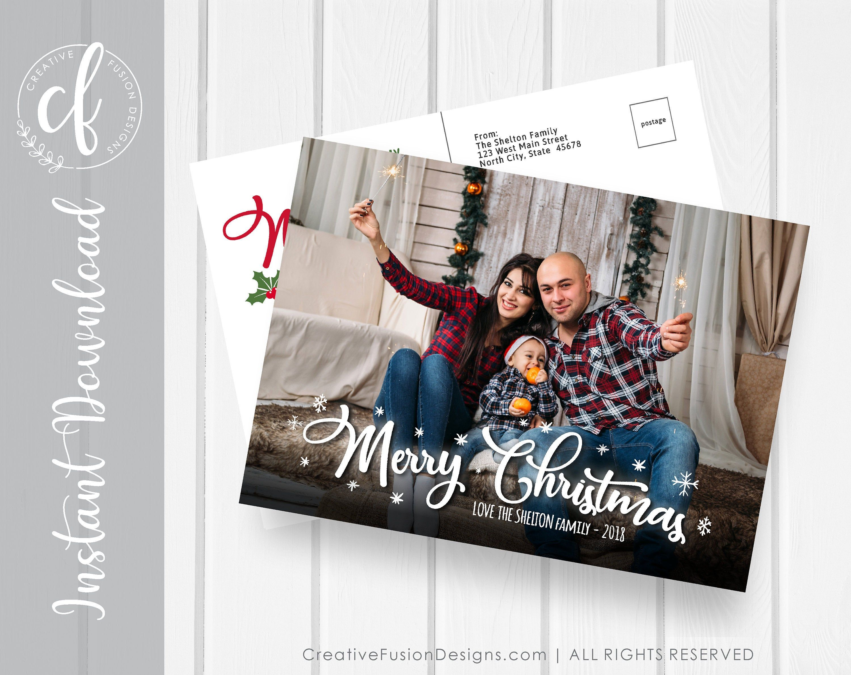 Family Photo Christmas Card Merry Bright Digital Download Etsy Family Christmas Card Photos Christmas Photo Cards Digital Christmas Cards