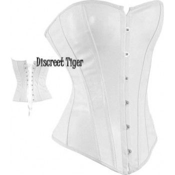 Off White faux leather corset. Free shipping Australia wide. Overseas flat cheap rate.  www.discreettiger.com.au