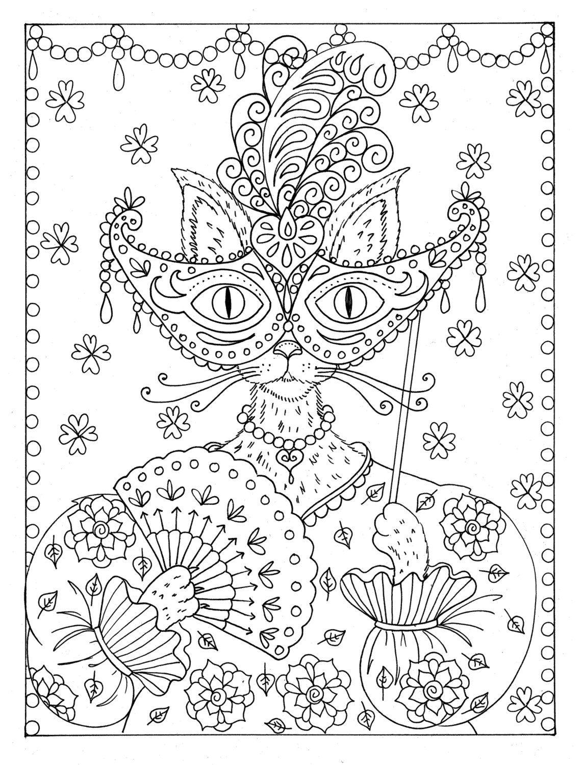 Coloring Book Fantasy Cats Be The Artist Book For Cat Lovers Etsy In 2020 Cat Coloring Book Coloring Books Cat Coloring Page