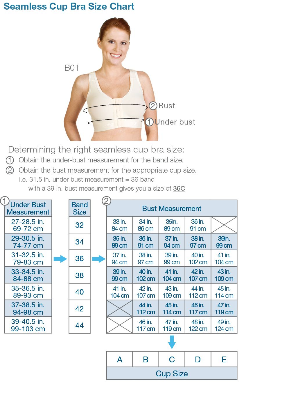 B Cup Breast Bra chart for bra sizes an...