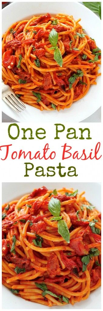 One pan Tomato Basil Pasta! Thick Bucatini noodles are covered in the most delicious tomato basil sauce! Ready in just 30 minutes!