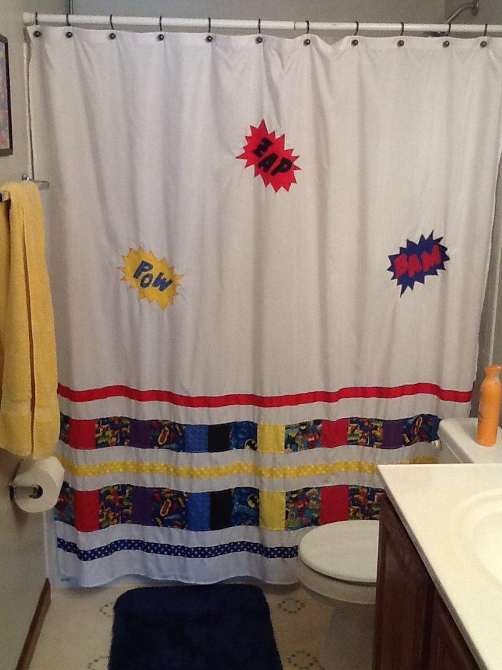 Superhero shower curtain. Add hero fabric and ribbon to plain white ...