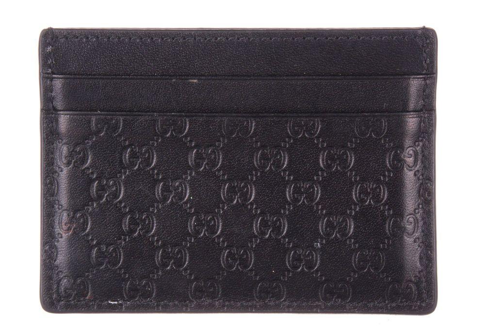 Gucci black micro guccissima leather card holder wallet