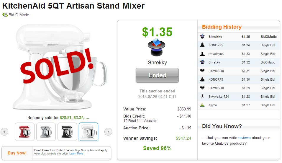 Kitchenaid 5qt artisan stand mixer sold on quibids canada