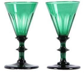 Antique Pr Georgian Glass Wine Glasses 1830 Green