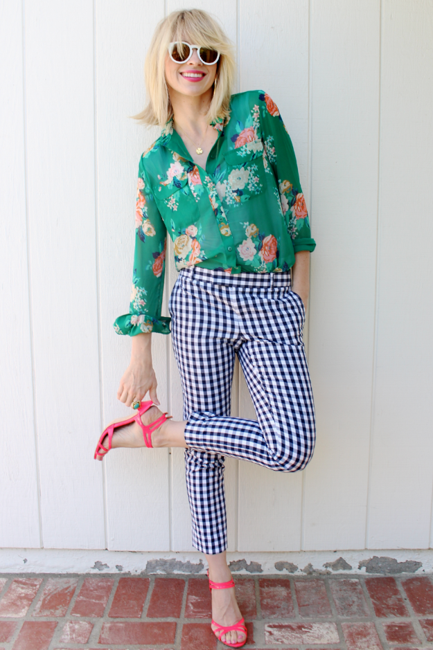 Floral Blouse Gingham Pants Pattern Mixing Outfits Mixing Patterns Mixed Prints