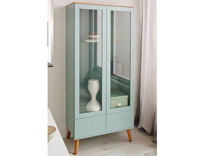 Wohnzimmer eckschrank ~ Joan schrank vitrine wohnzimmer eiche & grün skandinavisch