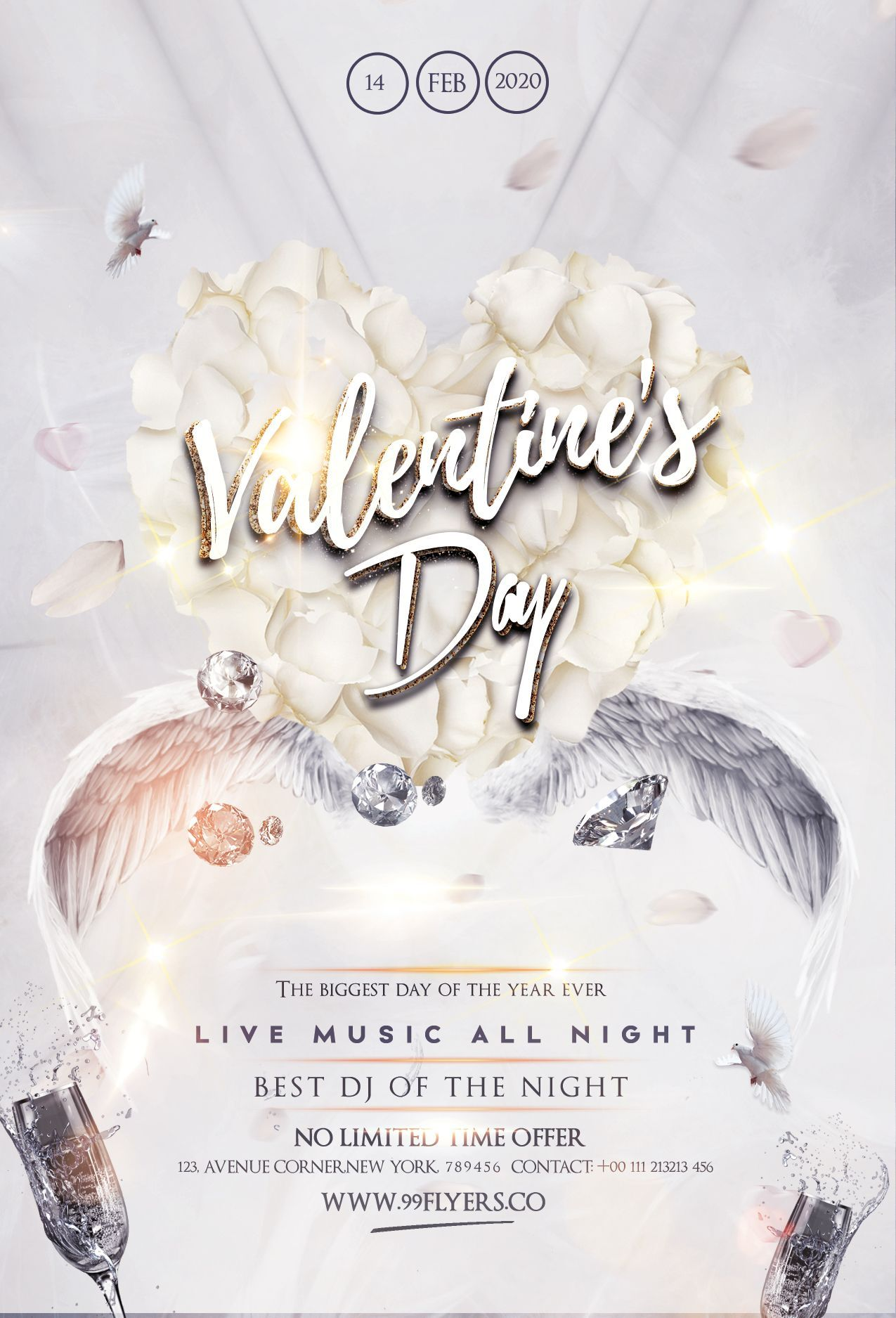 Happy Valentine S Party Free Psd Flyer Template In 2020 Free Psd Flyer Templates Free Psd Flyer Valentines Party