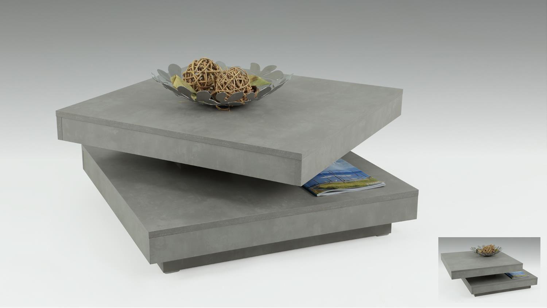 Couchtisch BEN in Betonoptik Tisch Platte 360° drehbar ...
