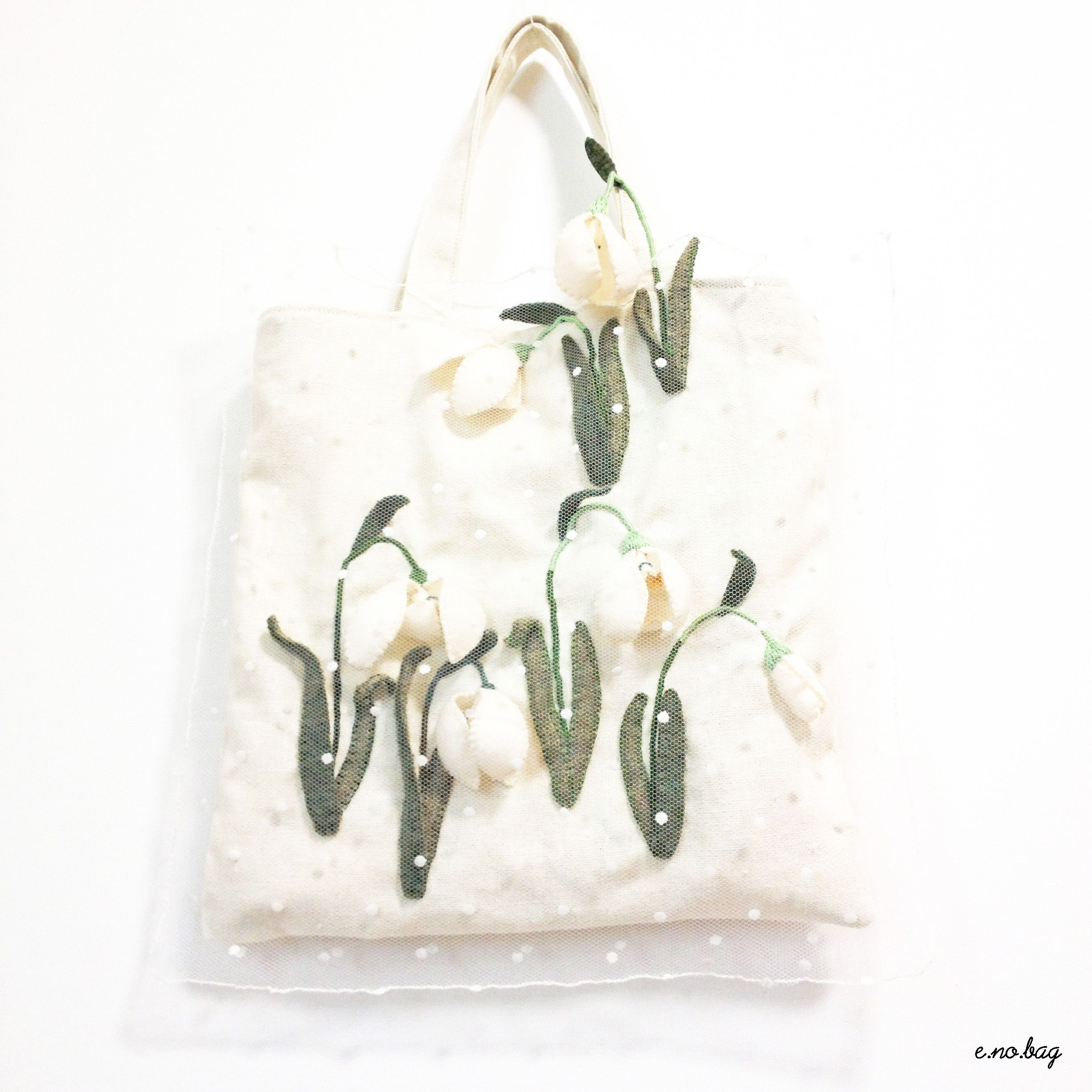 "Snowdrop felt applique and embroidery mini bag by e.no.bag ""クジャク ノ バッグ "" #snowdrop #felt #embroidery"