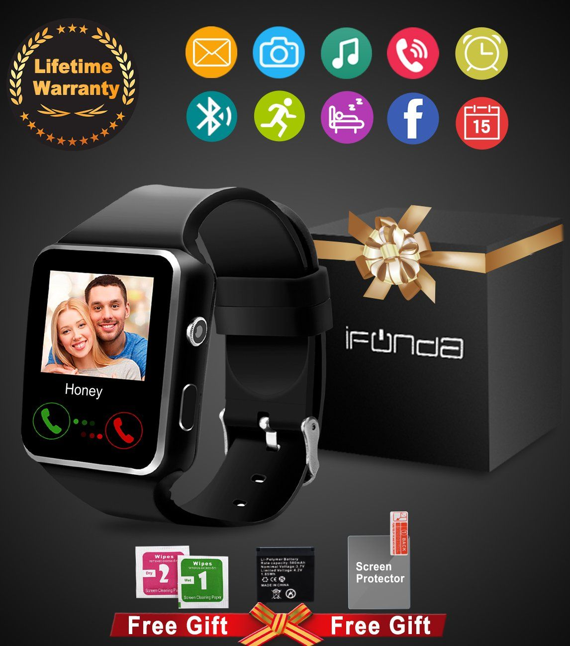 Bluetooth smart watch with camera touch screen smartwatch