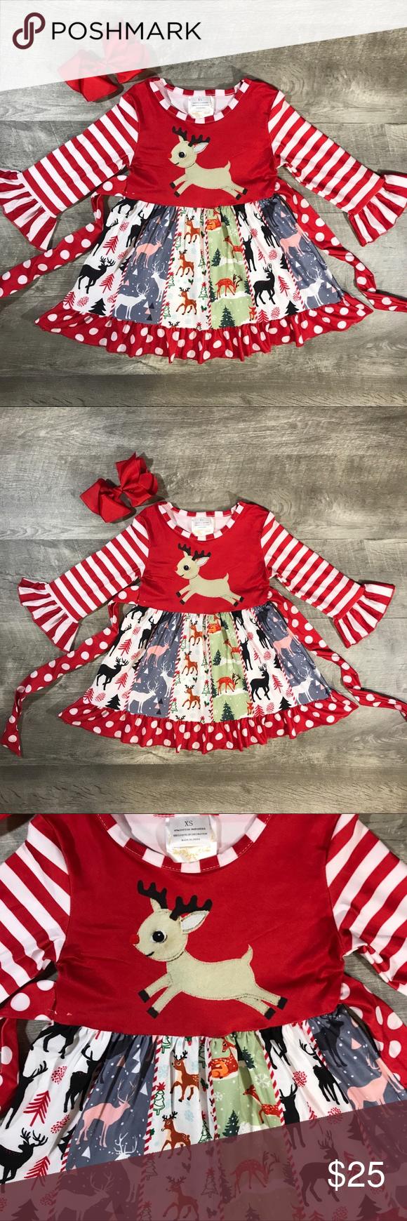 Christmas Twirl Dress Rudolph Reindeer Dress Red White Stripe Dress