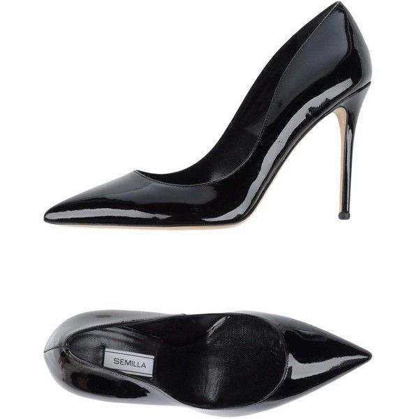 Semilla Court ($185) ❤ liked on Polyvore featuring shoes, pumps, black, black leather pumps, black rubber sole shoes, leather shoes, black stiletto shoes and kohl shoes