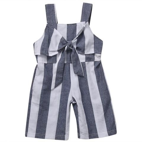 8c05074b91a9 Infant Baby Kids Girls Striped Jumpsuit Romper Bow Sleeveless Baby Romper  Clothes Casual Fashion Outfits Playsuit