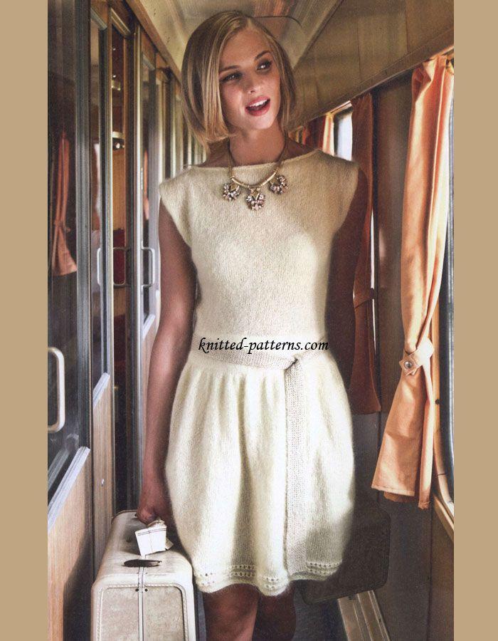 Knit Dress Free Knitting Pattern Pale Yellow Dress Knit From A