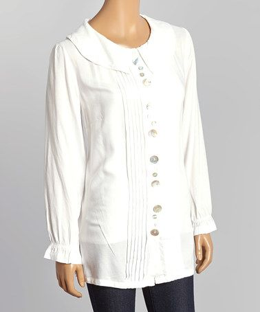 I love white! Look what I found on #zulily! White Pleat Button-Up Top #zulilyfinds