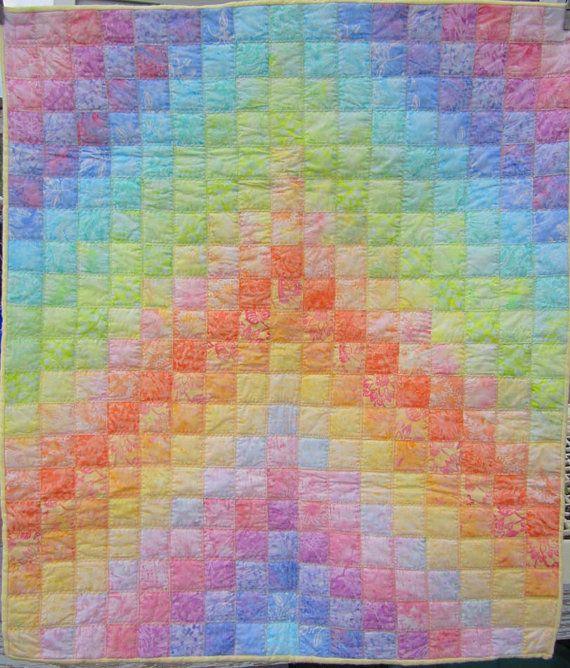 Sherbet Pastel Rainbow Baby Blanket Quilted Soft Fleece