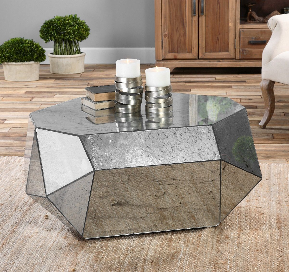 Pure Geometry From All The Angles Our Uttermost Antheia Mirrored Polygon Coffee Table Is Dramatically Antiqued Mirror Reflecting Light In Many Directions