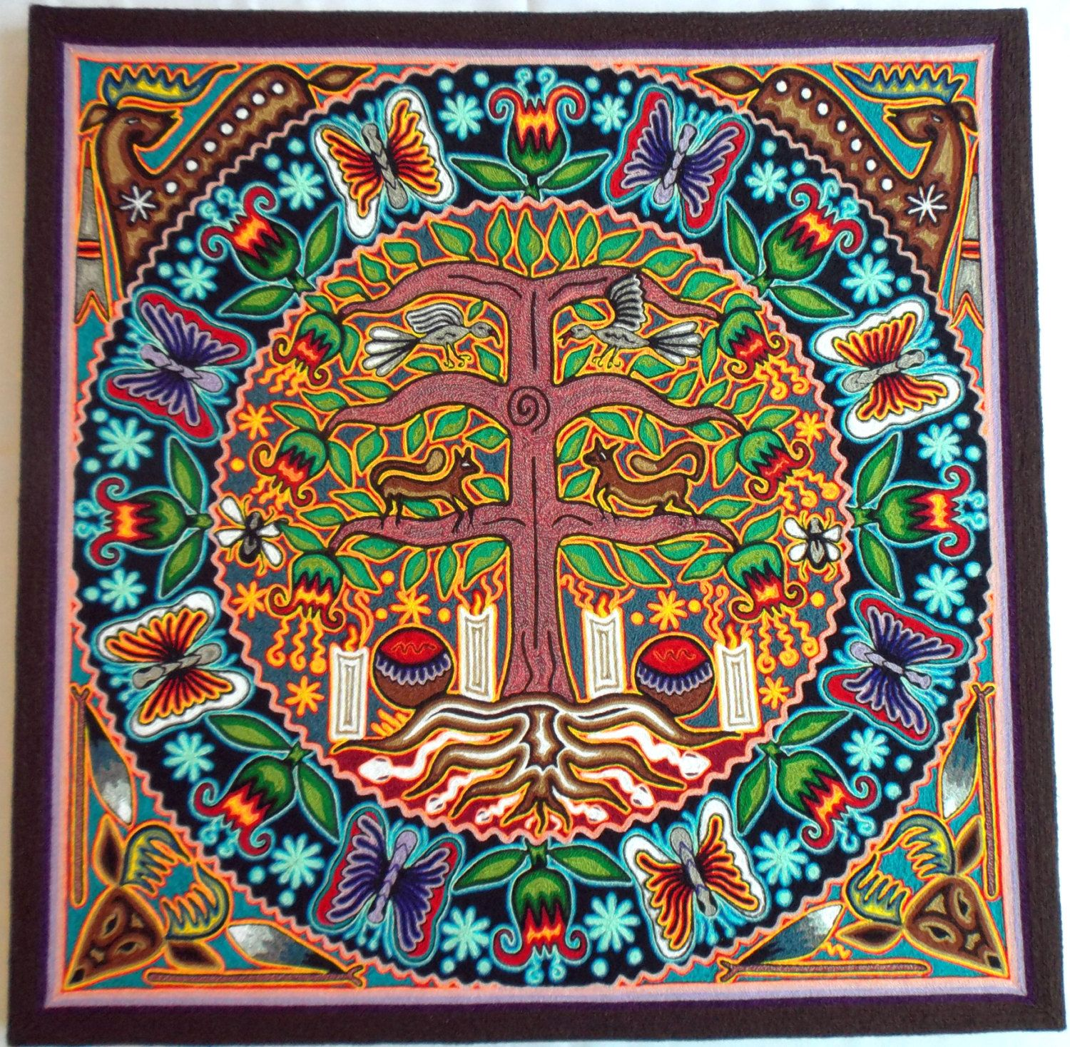 """23.5"""" Mexican Huichol Tree of Wind / Life and Deer yarn painting by Aramara on…"""